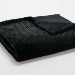 Plaid relief damier uni noir - 130x170cm - Amadeus