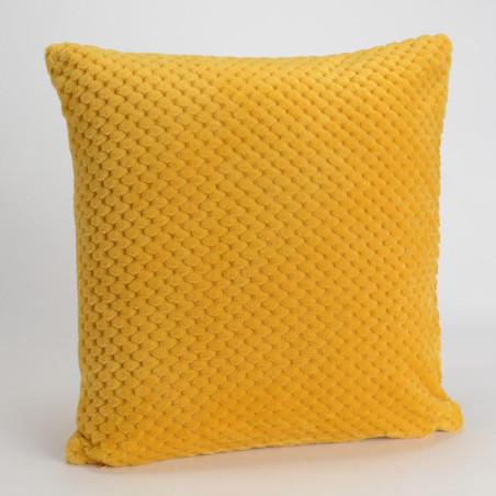 Coussin relief damier uni jaune moutarde - 40x40cm - Amadeus