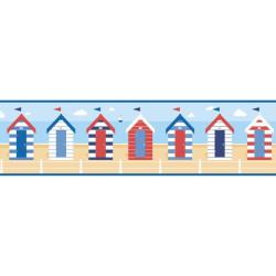 Frise adhésive Cabines de plage - style marin - Lutèce