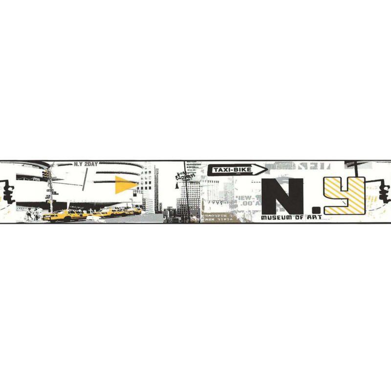 Frise adhésive Manhattan New York jaune et gris - Lutèce - 12101102-D
