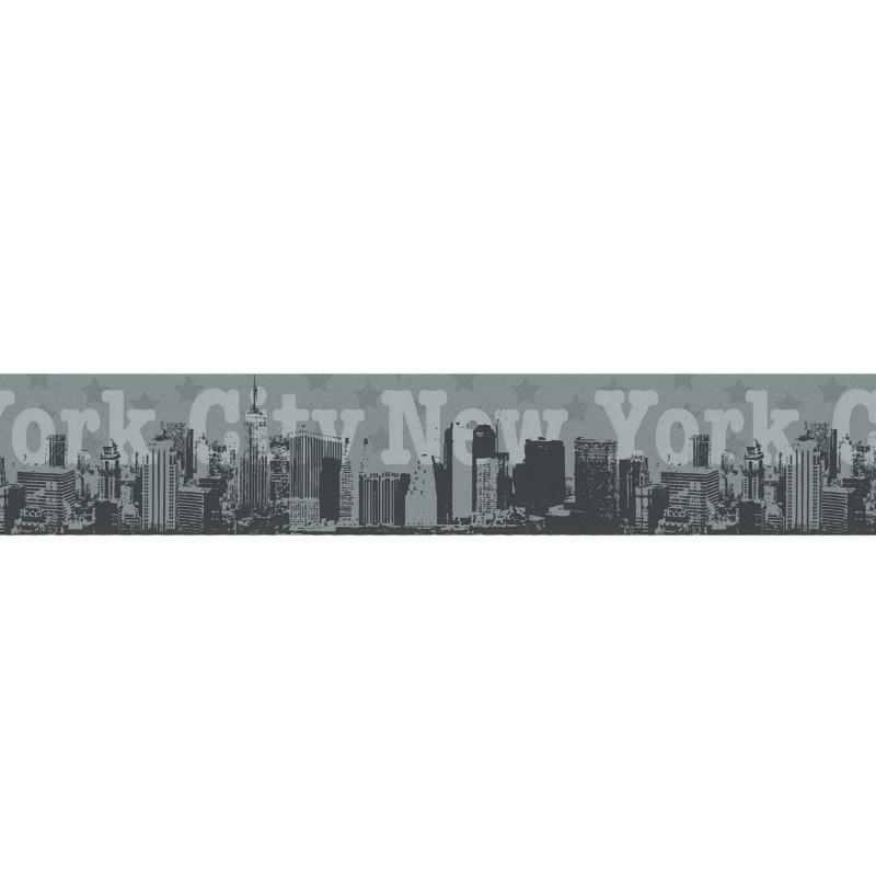 Frise adhésive New York City - gris argent - Lutèce