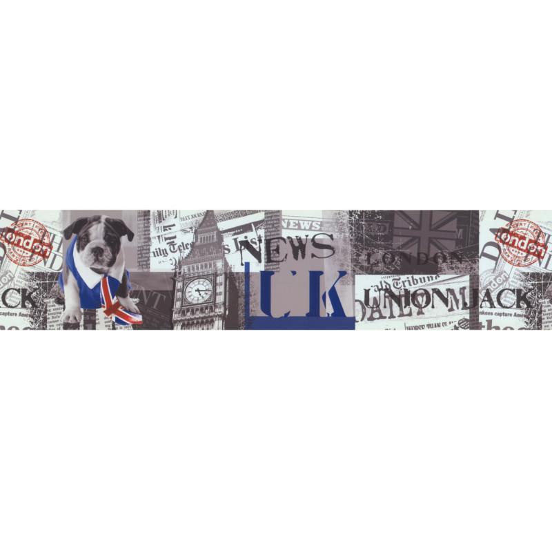 Frise adhésive London Union Jack gris - Lutèce - 64151201-A