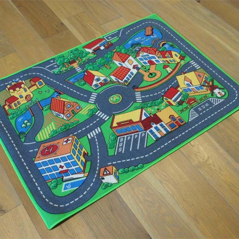 tapis enfant circuit voitures ville calme 95x133 cm. Black Bedroom Furniture Sets. Home Design Ideas
