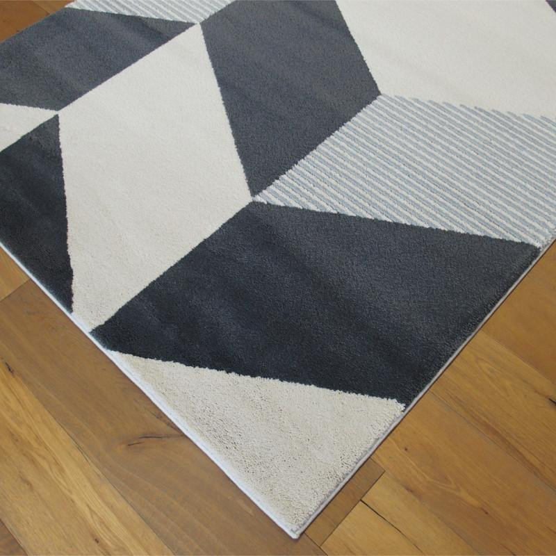 tapis motif g om trique gris et blanc 160x230cm alaska balta. Black Bedroom Furniture Sets. Home Design Ideas