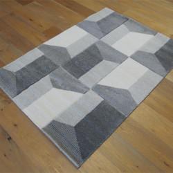Tapis motif géométrique gris et blanc cassé - 120x170cm - Shuffle - BALTA