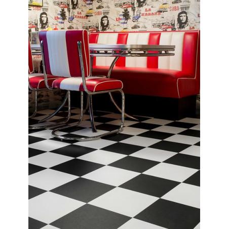 Revêtement PVC - Largeur 4m - Modena 901D damier noir et blanc