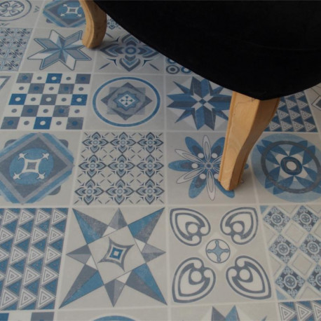 Lame PVC clipsable - carreaux de ciment bleu - Collection Deco Tile Click - KALINAFLOOR