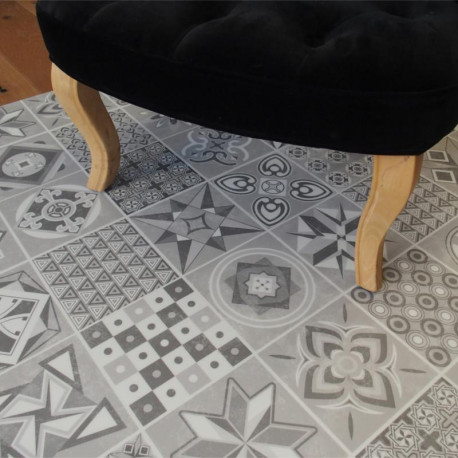 Lame PVC clipsable - carreaux de ciment gris - Collection Deco Tile Click - KALINAFLOOR