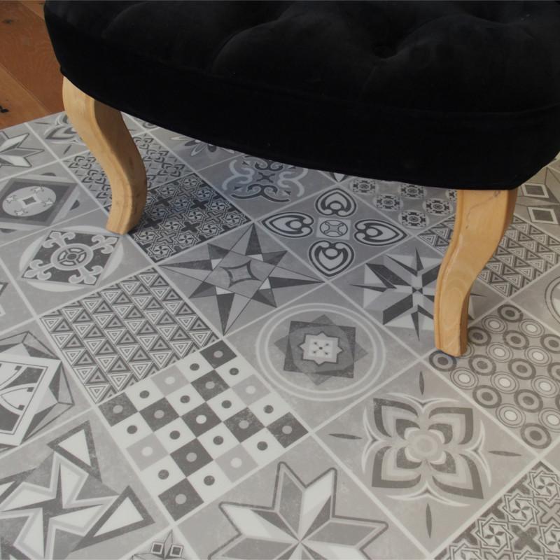 Lame PVC clipsable - carreaux de ciment gris - Collection Deco Tile Click
