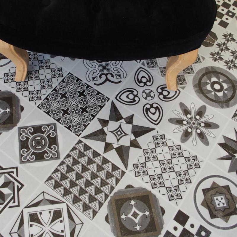 Lame PVC clipsable - carreaux de ciment noir et blanc - Collection Deco Tile Click
