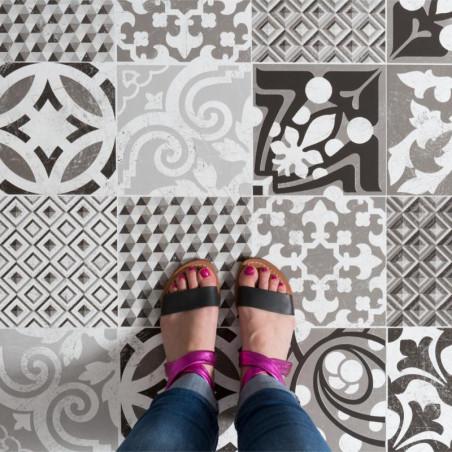 Revêtement PVC - Largeur 4m - Provence carreaux de ciment noir et blanc - Texline Gerflor