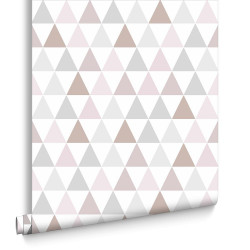 Papier peint Tarek triangles Rose Gold, scandinave. Graham & Brown