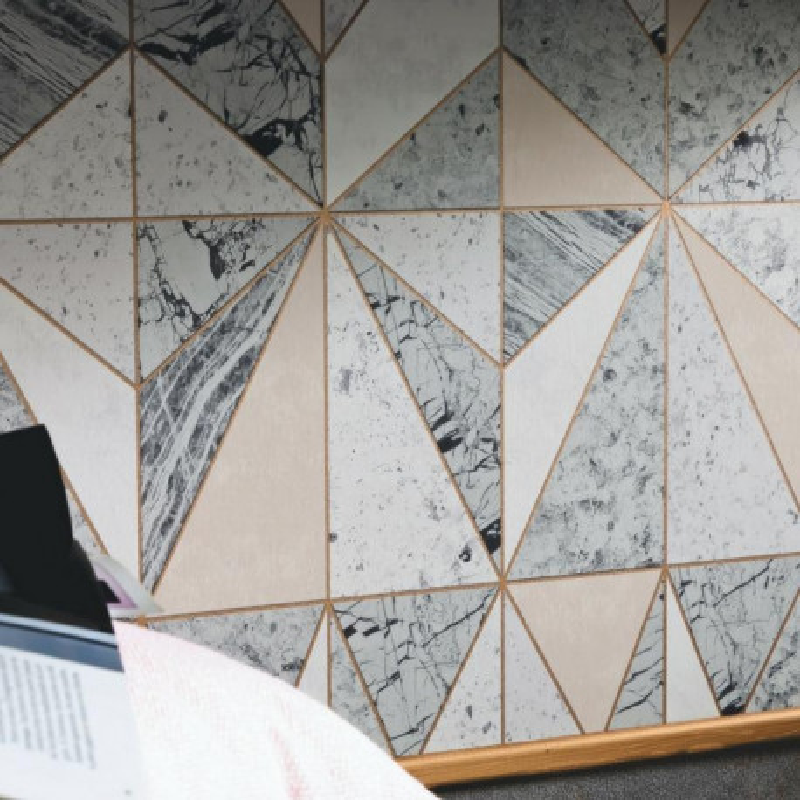 Papier Peint Vinyle Intisse Geometrique Effet Marbre Material Caselio