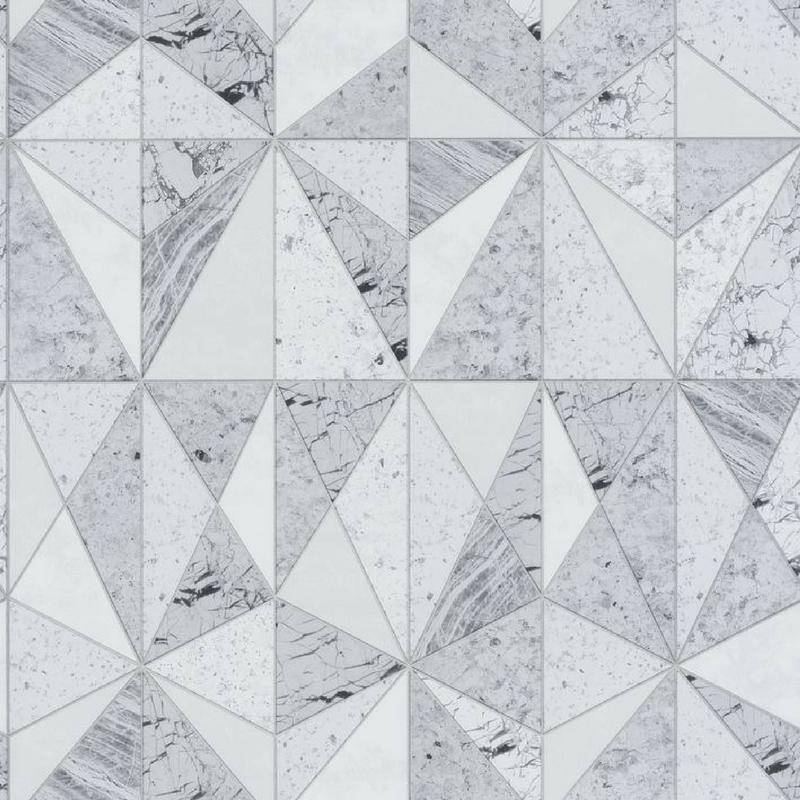Papier Peint Vinyle Geometrique Vert Effet Marbre Material Caselio