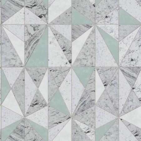Papier peint géométrique effet marbre vert - Material - Caselio