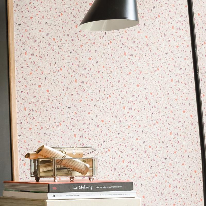 Papier peint Terrazzo orange et violet - MATERIAL - Caselio - MATE69633055
