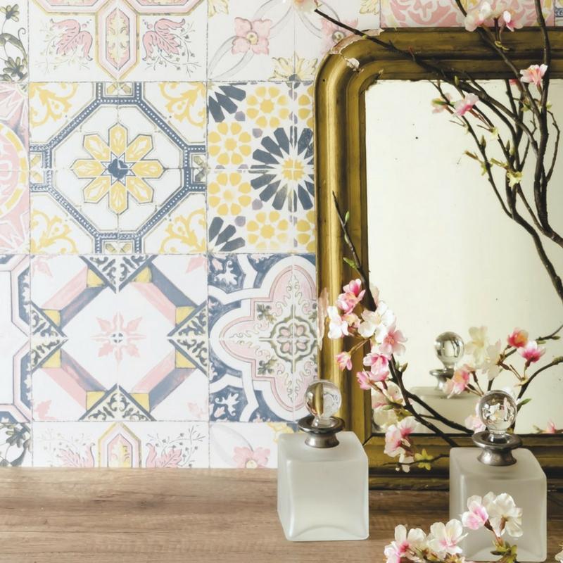 papier peint vinyle carreaux de ciment jaune et rose material caselio. Black Bedroom Furniture Sets. Home Design Ideas