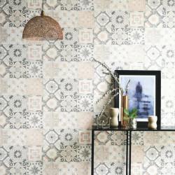 Papier peint Carreaux de Ciment gris et rose - MATERIAL - Caselio - MATE69620000