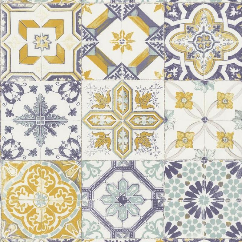 Papier peint Carreaux de Ciment jaune et bleu - MATERIAL - Caselio - MATE69622060