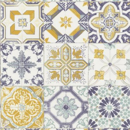 Papier peint carreaux de ciment jaune et bleu pastel- Material - Caselio