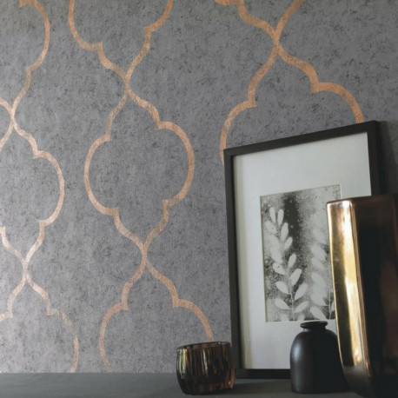 Papier peint Ornement gris foncé et cuivré - MATERIAL - Caselio - MATE69659039