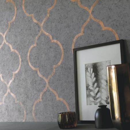 Papier peint ornement gris foncé et cuivré - Material - Caselio