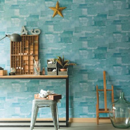 Papier peint Effet Béton turquoise - MATERIAL - Caselio - MATE69666150