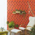 Papier peint jungle, guépard sur fond rouge, collection SMILE - Caselio