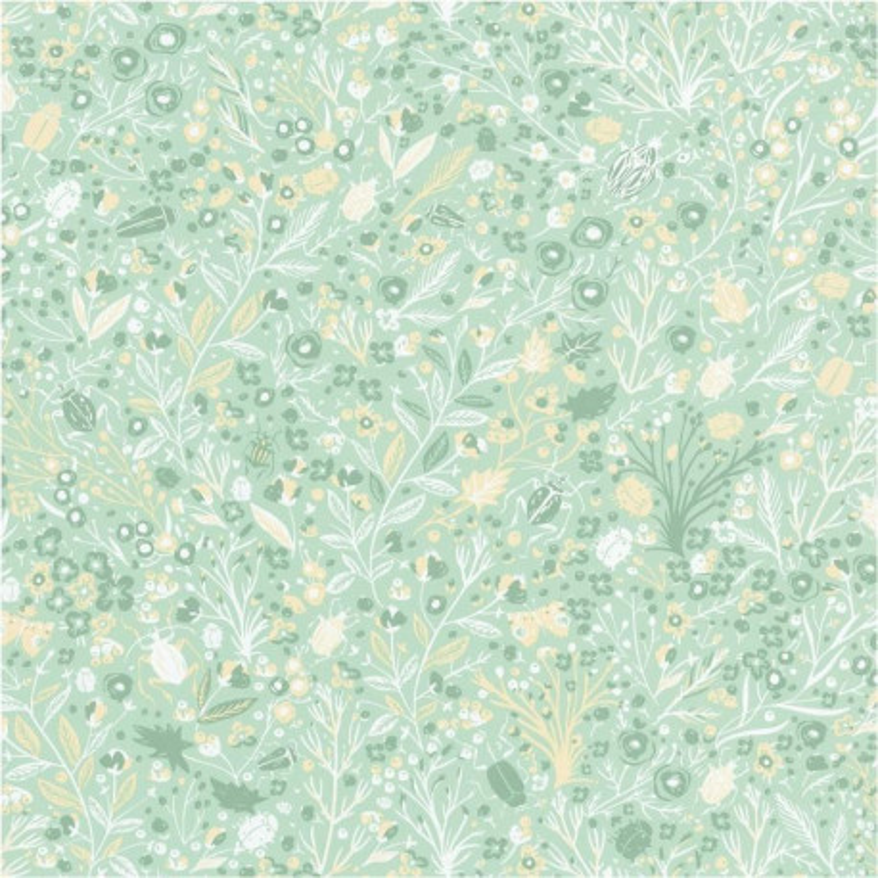 Papier Peint Intisse Floral Jaune Et Fond Vert Pastel Smile Caselio