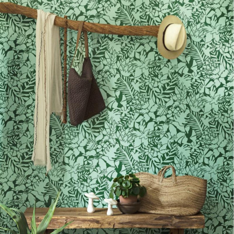 papier peint intiss tendance jungle tons vert smile caselio. Black Bedroom Furniture Sets. Home Design Ideas