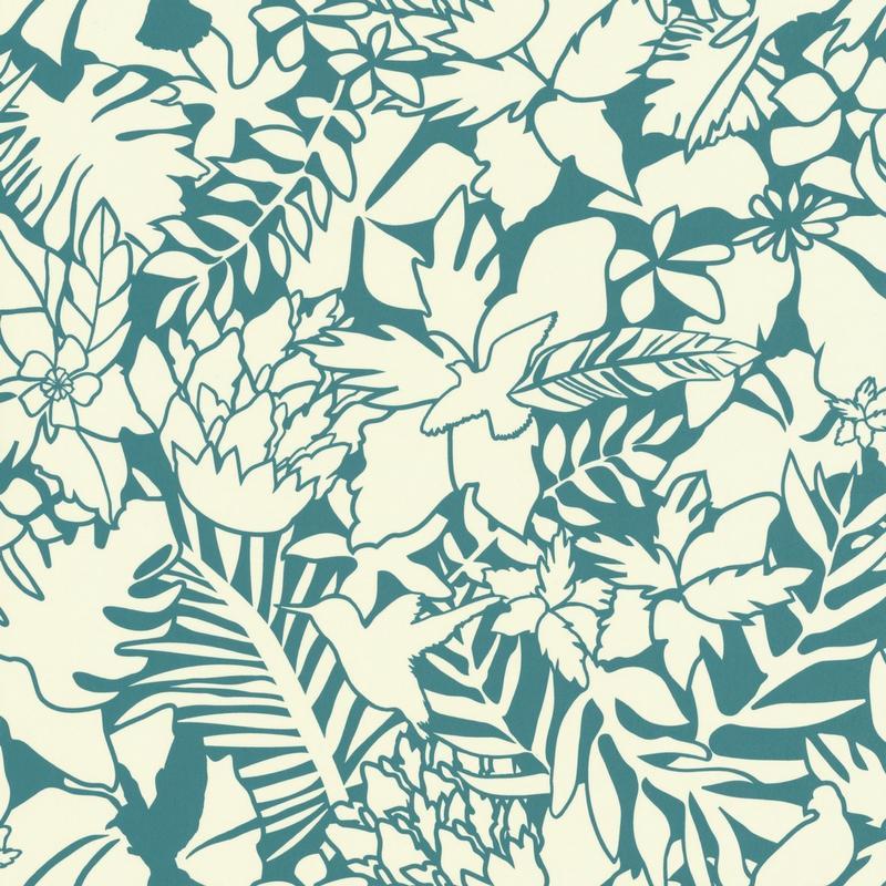 Papier peint Jungle turquoise et beige - Smile - Caselio