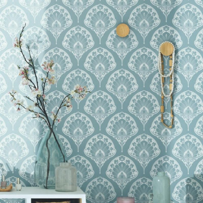 Papier peint palme bleu et blanc Smile - Caselio