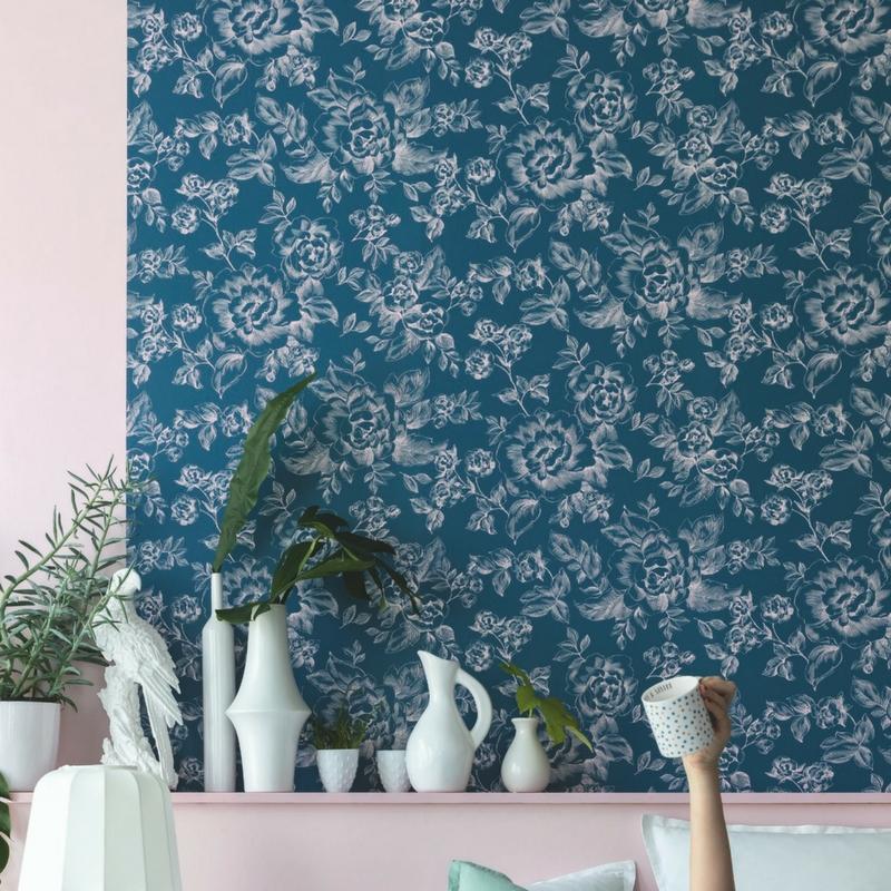 Papier peint floral bleu et rose - Smile - Caselio