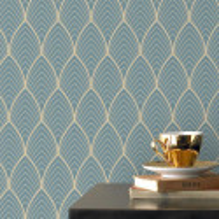Papier peint vinyle sur intissé Bercy bleu doré - Graham & Brown