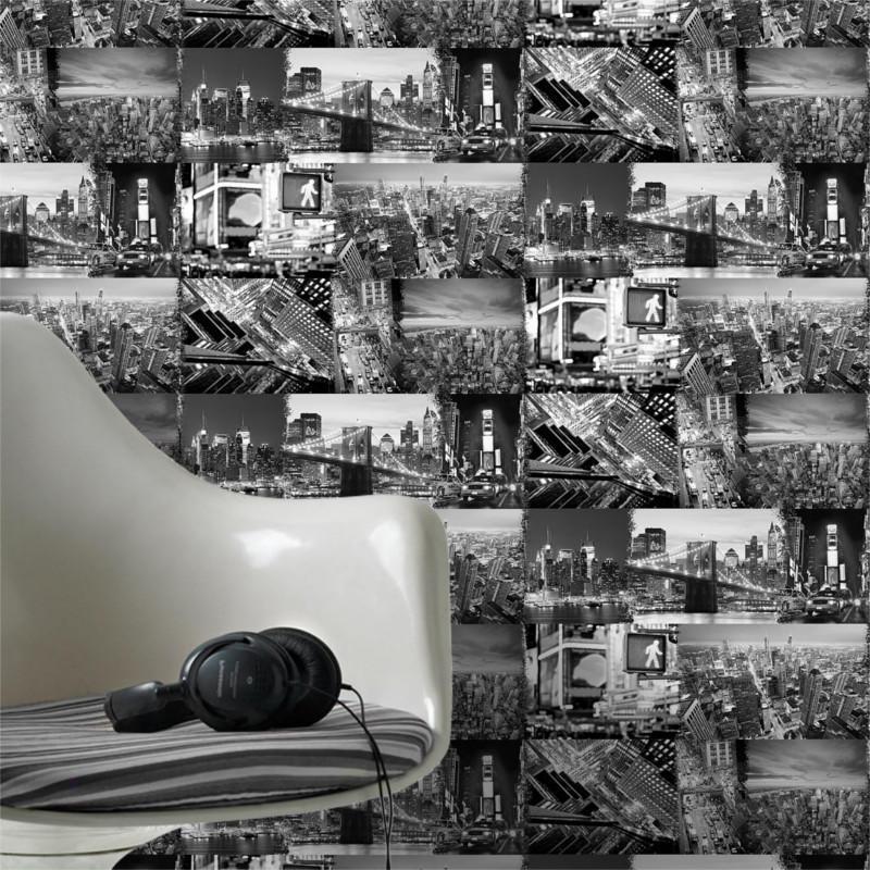 Papier peint Brooklyn patchwork noir et blanc - Graham & Brown