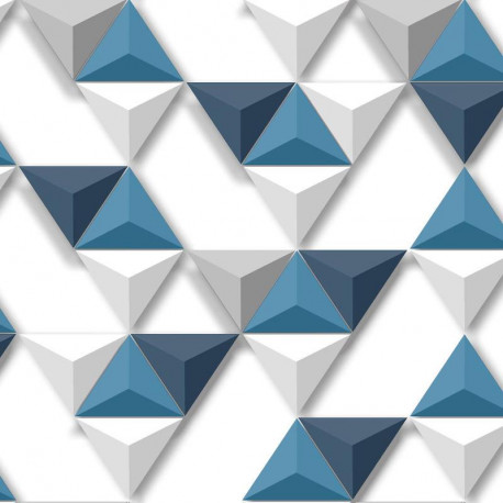 Papier peint Triangles Relief  bleu - HEXAGONE - Ugepa - L57501