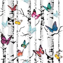 Papier peint bouleau et papillons - Muriva - UGEPA