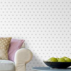 Papier peint Origami blanc et gris pailleté - Ugepa