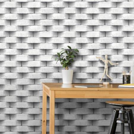 Papier peint trompe l'œil effet 3D briques blanc gris - UGEPA