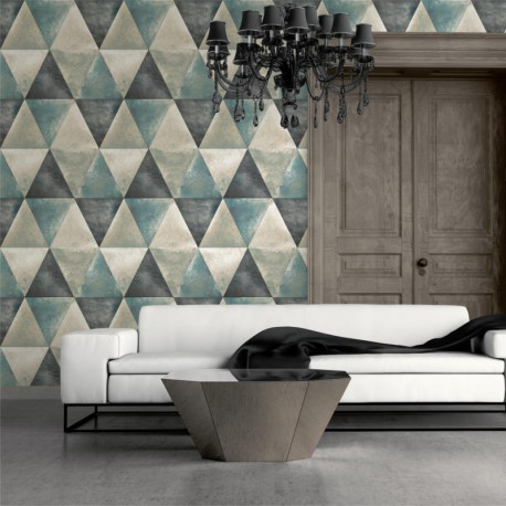 papier peint vinyle triangles bleu et cuivre effet m tallis hexagone. Black Bedroom Furniture Sets. Home Design Ideas