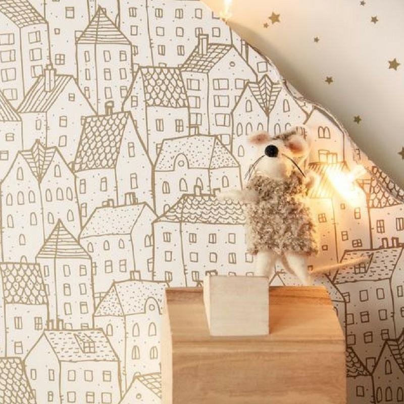 papier peint enfant maison collection pretty lili de chez caselio. Black Bedroom Furniture Sets. Home Design Ideas
