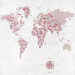 Papier peint WorlMap violet rose , PRETTY LILI, CASELIO