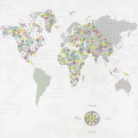 Papier peint pour enfant WorldMap vert jaune, PRETTY LILI, CASELIO