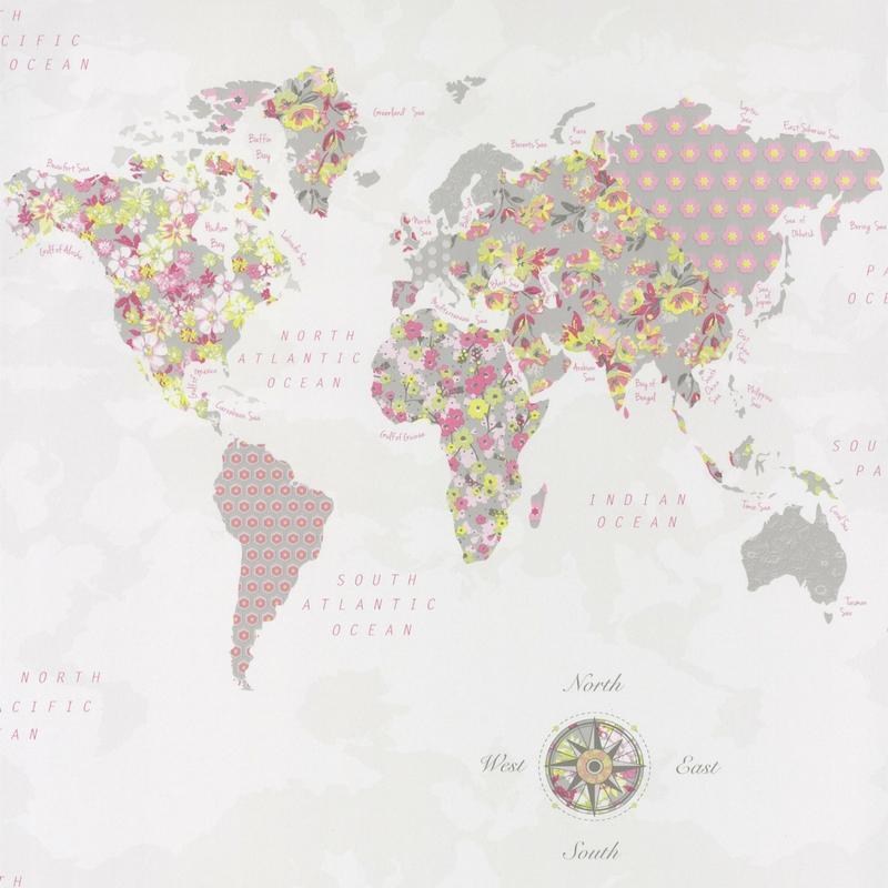 Papier peint WorldMap vert rose - PRETTY LILI - Caselio - PRLI69184677