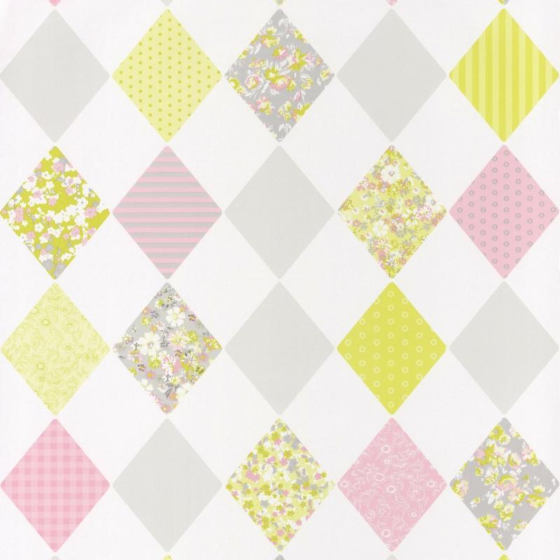 Papier peint Losange rose vert - PRETTY LILI - Caselio - PRLI69167070