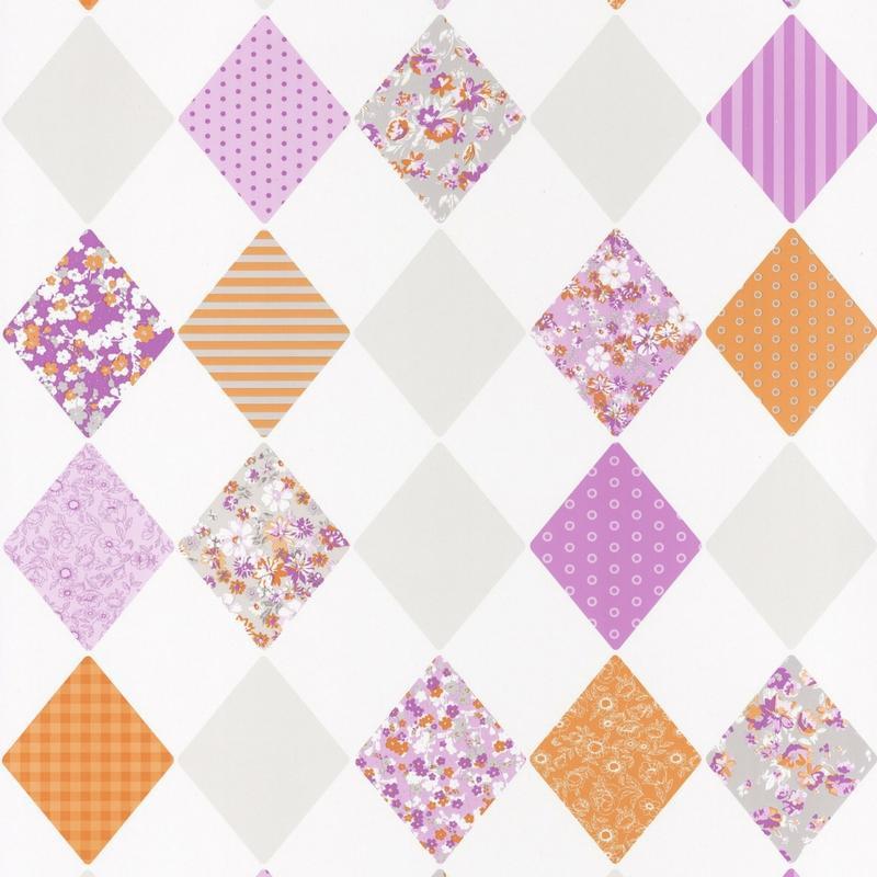 Papier peint Losange orange violet - PRETTY LILI - Caselio - PRLI69163055