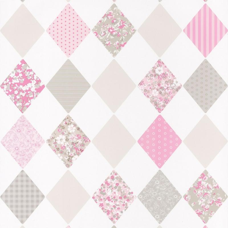 Papier peint Losange rose gris - PRETTY LILI - Caselio - PRLI69164018