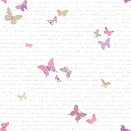 Papier peint enfant, papillon, collection pretty lili de chez Caselio