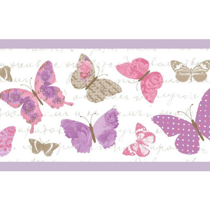 Frise Papillons violet - PRETTY LILI - Caselio - PRLI69114055
