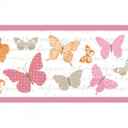 Frise pour enfant, Papillons, rose et orange, PRETTY LILI, CASELIO